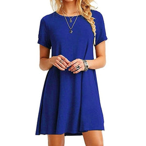Womens Summer Plus Size Short Sleeves Midi Swing T-Shirt Dress Plain Solid