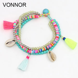 Fashion Multi-layer Beads Strand Shell Bracelet Summer Beach Holiday Jewelry