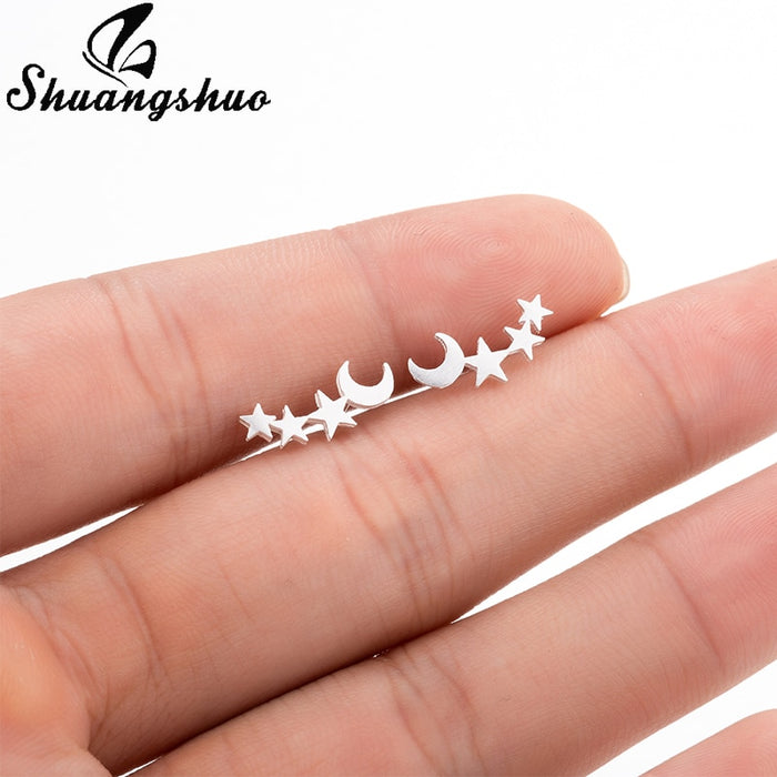 Shuangshuo Moon Star Ear Climber Tiny Star Moon Stud Earrings Everyday Teen