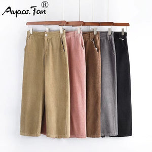 New Women's Pants Women Autumn Winter Solid High Waist Wide Leg Pants Casual