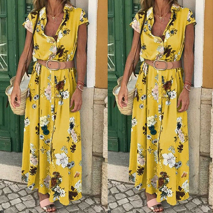 Women Floral Boho Long Dress Short Sleeve High Waist Elegant Ladies