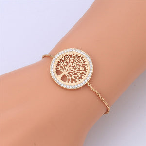 Gold Tree of Life Charm Bracelet For Women Wrist Bracelet Trendy Adjustable