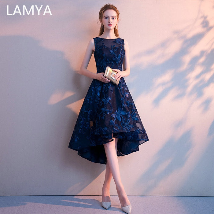 LAMYA Customized Simple High Low Prom Dress 2019 Elegant Short Front