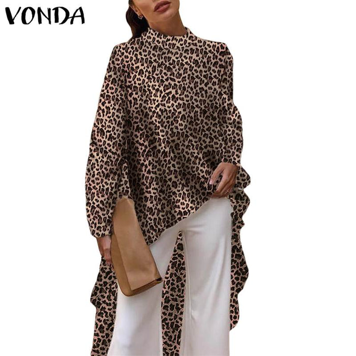 VONDA 2019 Casual Women Blouses Long Sleeve Elegant Sevy Summer Leopard Print Blouse OL Shirt Asymmetrical Long Tops Plus Size