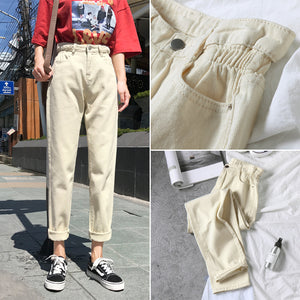 White High Waist Jeans Pants Women Loose Vintage Harem Boyfriends Jeans Mujer Chic Loose Black Jeans Plus Size 2019 Casual Pants
