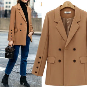 2018 Autumn New Style  Long Women Suit Jackets Buttons Camel/Black