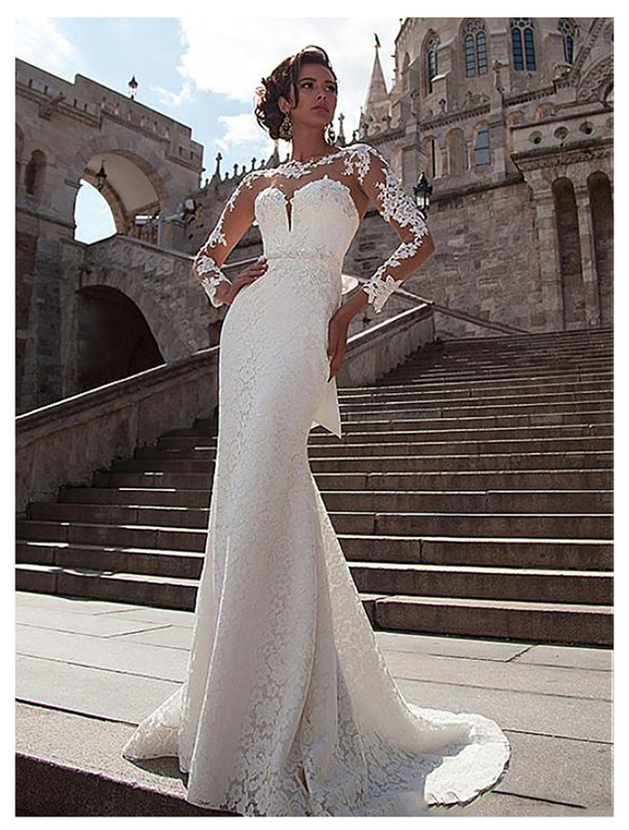 LORIE Mermaid Wedding Dress 2019 Long Sleeves Lace Appliques Bridal Dress Buttons Back Beach Wedding Gowns