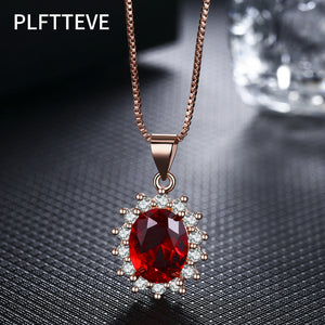 Red Blue Stone Necklaces & Pendants For Women Girls Rose Gold Silver Color