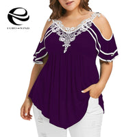 Plus Size 5XL Summer Womens Tops and Blouses 2019 Streetwear Lace Cold Shoulder Tee Shirts Tunic Ladies Top for Womens Clothing