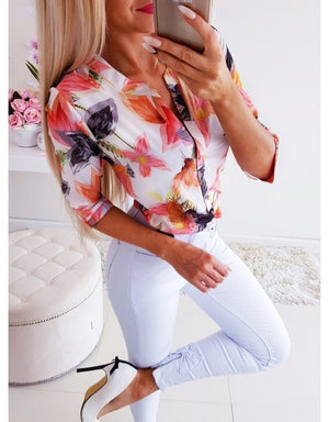 Summer Women 3/4 Sleeve Floral Loose Blouses Tops Woman Female Shirt OL Ladies Casual Button Blouse Streetwear 2019 New Arrival