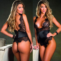 Sexy Women Deep V Neck Lingerie Nightwear Bodysuits Black Lace Satin Underwear Babydolls Sleepwear Erotic Hot Ladies Teddies