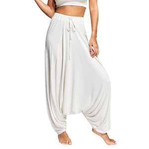 Wipalo Women Trouser Drop Bottom Harem Pants With Drawstring Casual Loose Plus Size Full Length Pants Hippie Balloon Pants S-2XL