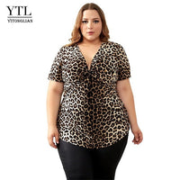YTL Plus Size Blouses for Women Leopard Sexy Deep V Neck Long Sleeve Slim Tunic