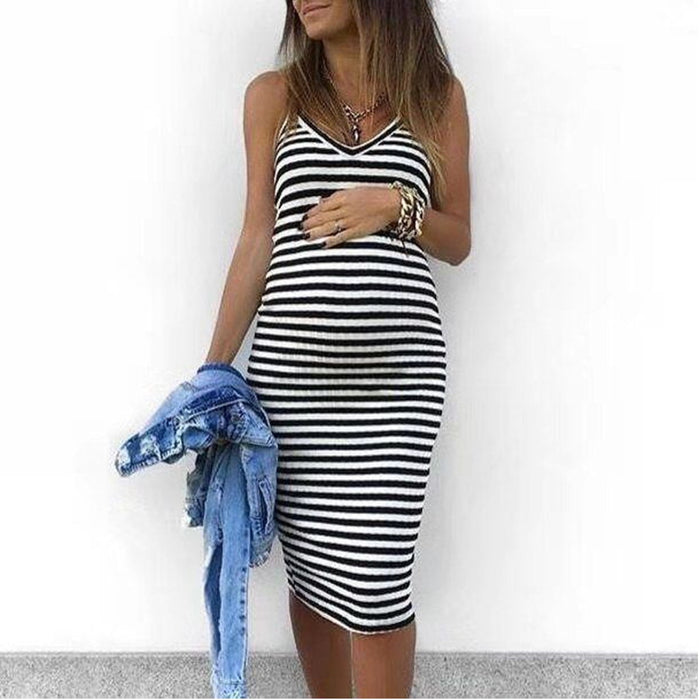 Maternity Sleeveless Striped Print Breastfeeding Sundress Pregnancy
