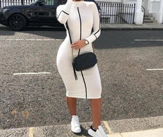 ZHYMIHRET 2019 New Panelled Long Sleeve Dress Women Skinny Midi Vestidos Mujer Sexy Contrast Color Pencil Dress Kleider Damen