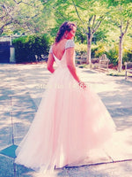 Pink 2019 Prom Dresses V-Neck Cap Sleeve Beaded Tulle Long Evening