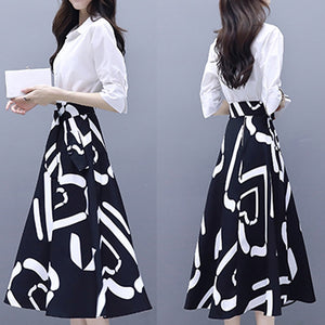 Women Elegent Office A-line Dress Three Quarter Sleeve Women Spring Autumn Dress 2018 Fashion Vintage Printing Party Vestidos