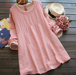 201 maternity long sleeve cotton linen polka dot dress pregnant women