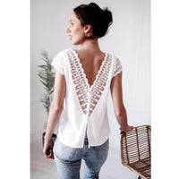 Women Boho Summer Loose Chiffon Causal Short Sleeve Lace Blouse Ladies V Neck Solid White Blouses Backless Haut Femme