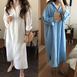 2019 ZANZEA Autumn Long Maxi Dresses Women Button Down Shirt Dress