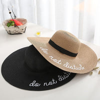 2019 Hot Letter Embroidery Cap Big Brim Ladies Summer Straw Hat Youth Hats