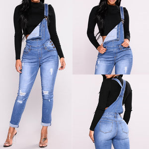 Women's With Holes In Their Straps Straightforward Tight Calf Jeans Rompers