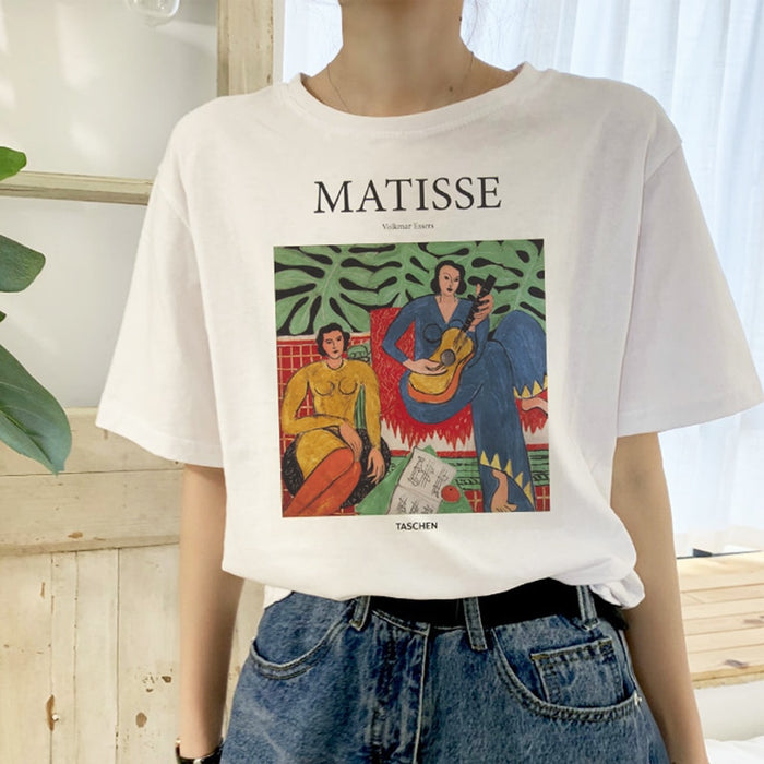 Matisse summer large size loose casual female short sleeve cartoon art print female tops fashion Harajuku new letter T-shirt