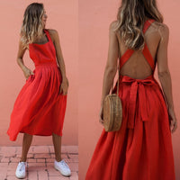 Bow Backless Red Midi Dress Sexy Sleeveless Bandage Women Summer Dresses 2019 Casual Sundress Strap knee long Beach Dress