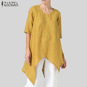 2019 ZANZEA Plus Size Women Blouse Shirt Ladies Casual Office Work Blusas Asymmetrical Hem Tunic Tops Womens Clothing Large Size