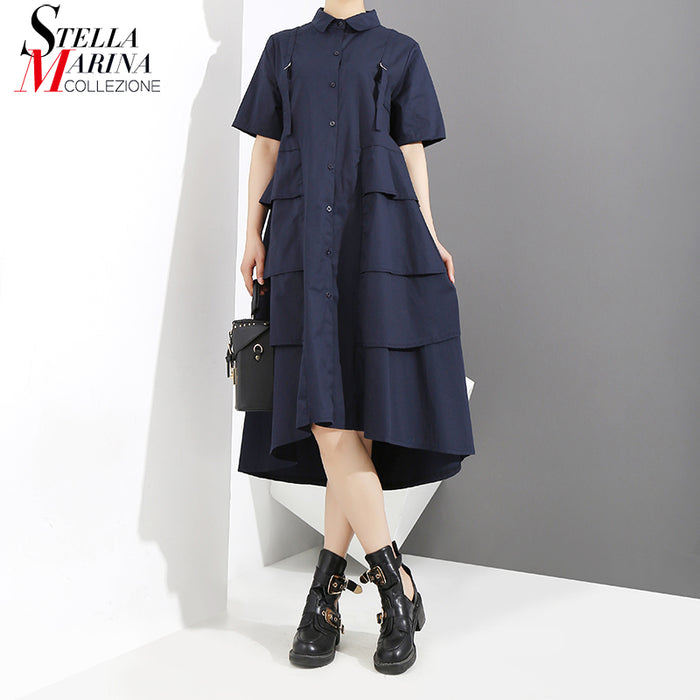New 2019 Women Summer Solid Blue Elegant Shirt Dress A-Line Cascading