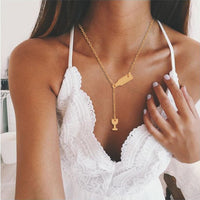 New Gold Silver Rose Gold Color Fashion Bottle Wine Cup Long Chain Necklace Women Lariat Red Wine Y style Necklaces Jewelry Gift