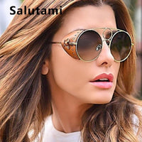Leather Frame Round Sunglasses For Women Luxury Brand