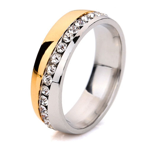 Promotion Fashion Groove Oblique Single Row Rhinestone Rings