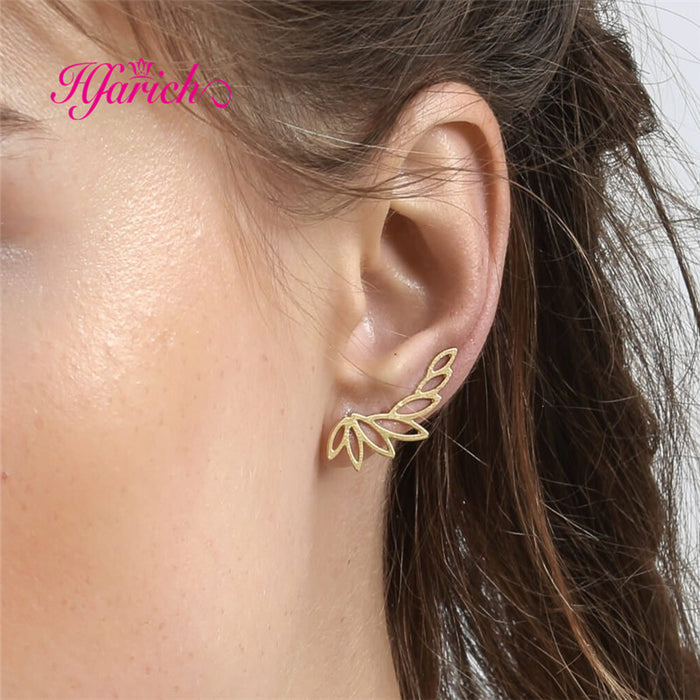Hfarich Sanasa Botanical Ear Climbers Sliver Leaves Earring A-Symmetric in stud