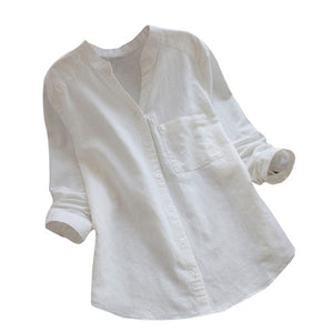Summer Women Loose Blouses Shirt Solid Ladies Linen Cotton Long Sleeve Button