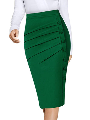Vfemage Womens Elegant Retro Pleated Ruched Side Buttons High Waist Work Office Business Casual Party Bodycon Pencil Skirt 2668