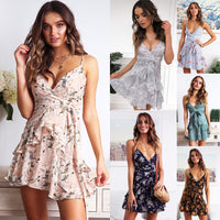Spaghetti Strap Women Summer Dress 2019 Party Floral Dress Short Flower Mini Dresses Female Backless Sexy Sundress For Ladies