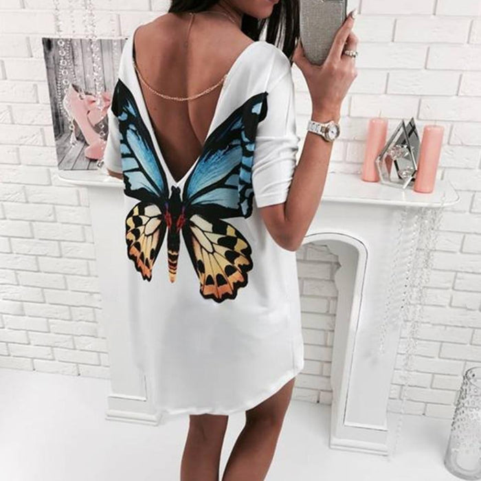 Fashion Deep-V Backless Chain Cat Butterfly Short Sleeve Women Top