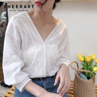 Cheerart Cotton Blouse Hollow Out Women V Neck Loose White Blouse Transparent Ladies Tops Dentelle Femme Autumn Spring