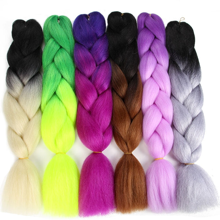 Sambraid 24 inch Jumbo Braids Ombre Braiding Hair For Crochet Braids Synthetic Crochet Braiding Hair Extensions 100g