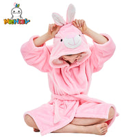 MICHLEY Kids Bath robes Adorable Baby Girl Roupao Hooded Children's Towel Pink Rabbit Bathrobes Beach Swimwear Boy Pajamas WEK-P