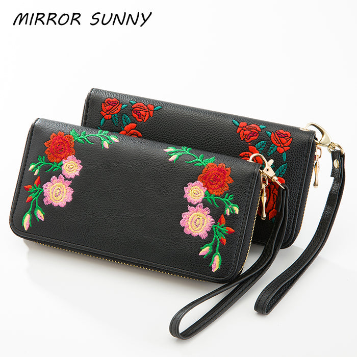 MS-0003 New lichee PU embridery women long wallet zipper wallet red rose flower design women wallet wristlet purse carteira