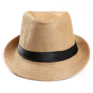 feitong Unisex Trilby Gangster sun hat Beach Sun Straw Hat Band Sunhat Beach Straw Men UV Protection Large Brim sun Cap#31