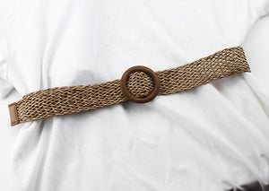 2019 New Summer Ladies Wide Braided Woven Straw Waist Belt