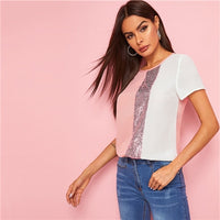 Sequins Contrast Panel Spliced Cut-And-Sew Top Womens Tops and Blouses 2019