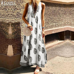 Summer Maxi Dress Women's Sundress 2019 ZANZEA Fashion Sexy V Neck Sleeveless Vestidos Female Casual Print Long Robe Femme