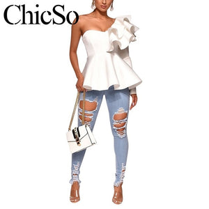 Missychilli One shoulder ruffle female shirt White casual office ladys blouse Women shirt sexy peplum black party shirt tops