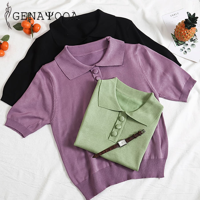Genayooa Vogue Polo Shirt Women Knitted Casual Candy Women's T-shirt Short Sleeve Top Harajuku 2019 Women T-shirt Summer Korean