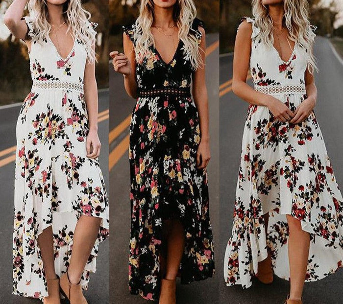 2019 Thefound Hot Women Dress Vintage Boho Long Maxi  Party Beach Sundress Floral Printing Chiffon  Summer Dresses