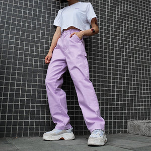 Loose High Waist Women's Pants Cotton Full Length Trousers Women 2019 Fashion Stretch Streetwear Cargo Pants Women